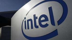 The Intel logo on the exterior of its
