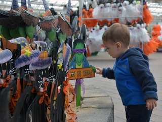 Michael DiGiuseppi, 1, of East Williston, checks out