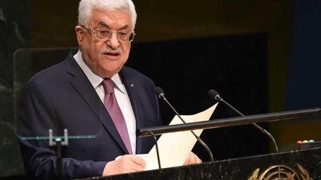 Palestinian president Mahmud Abbas addresses the 69th Session
