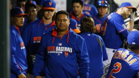 Bobby Abreu of the Mets looks on during