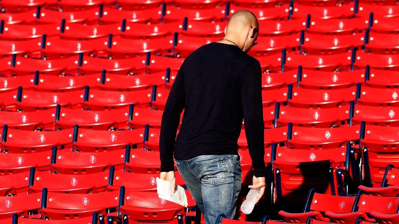 Derek Jeter of the Yankees leaves Fenway Park