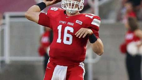 Stony Brook QB Conor Bednarski looks to pass