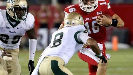 Stony Brook QB Conor Bednarski is forced from