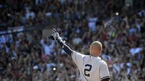 The Yankees' Derek Jeter is taken out of