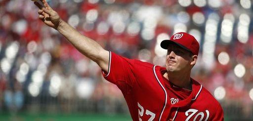 Washington Nationals starting pitcher Jordan Zimmermann delivers a
