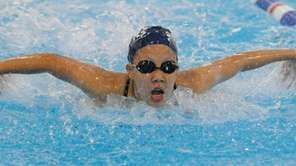 Jungin Lee of Plainview JFK competes in the