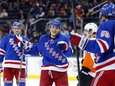 Jesper Fast #91 of the Rangers celebrates his