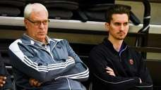 Knicks president Phil Jackson watches during the first