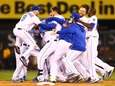 The Kansas City Royals celebrate their 9-8 win