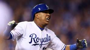Salvador Perez of the Kansas City Royals reacts