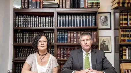 Dania Hall, with her lawyer, Kevin Grennan at