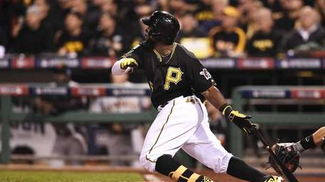 Josh Harrison of the Pittsburgh Pirates flies out