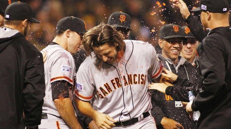 Madison Bumgarner of the San Francisco Giants celebrates