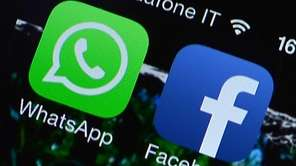 The Facebook and WhatsApp applications' icons displayed on