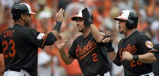 Baltimore Orioles' Nelson Cruz, from left, J.J. Hardy