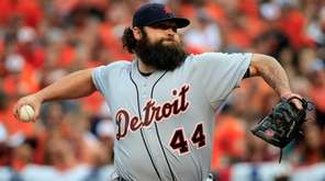 Joba Chamberlain of the Detroit Tigers throws a