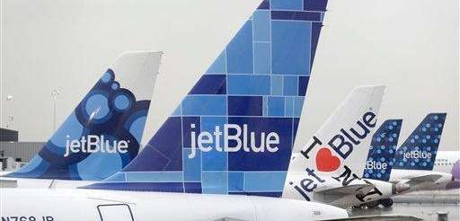 JetBlue airplanes at their gates at Kennedy Airport
