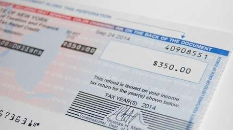 A New York State tax rebate check issued