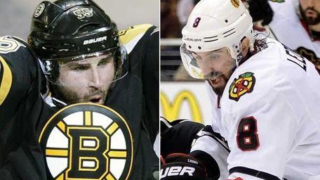 This composite image shows Boston Bruins defenseman Johnny