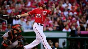 Adam LaRoche #25 of the Washington Nationals lined