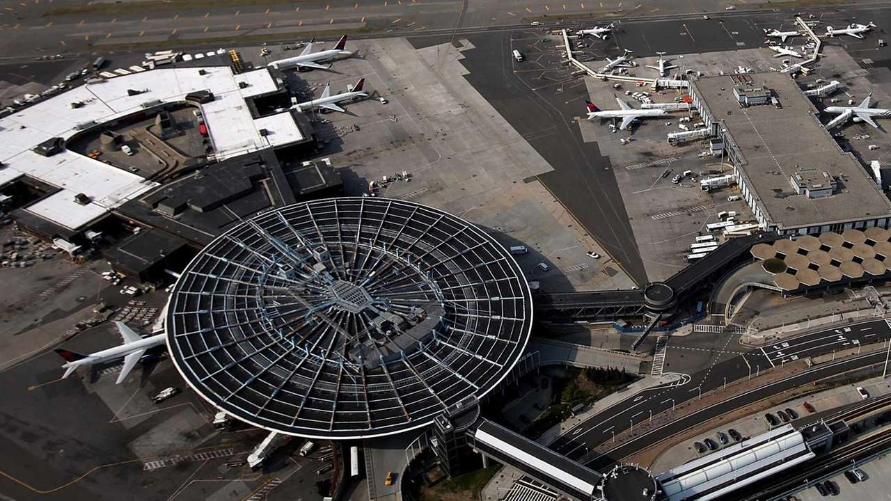 An aerial view of John F. Kennedy Airport