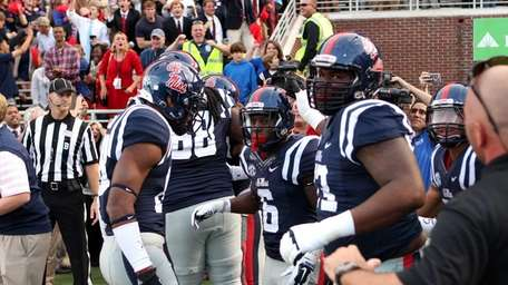 Jaylen Walton #6 of the Ole Miss Rebels