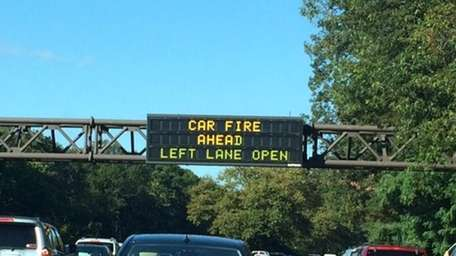 A sign on the westbound side of the