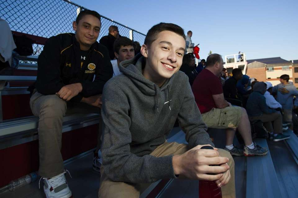 St. Anthony's Danny Quiroz, 15, of Bethpage, watches