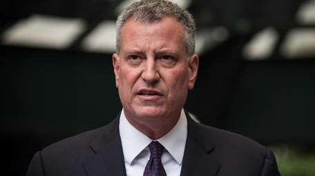 Mayor Bill de Blasio holds a press conference