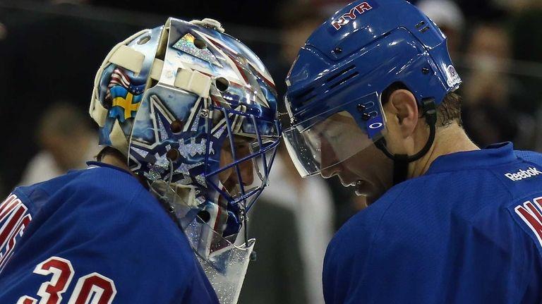 The Rangers' Henrik Lundqvist #30 and Rick Nash