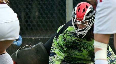 East Islip goalkeeper Erica Hayden makes the save