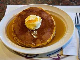 The pumpkin pancakes at Premier Diner in Commack.