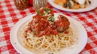 Tasty spaghetti and meatballs is served at Fargiano's