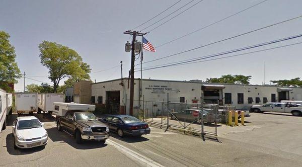 A U.S. Postal Service vehicle repair shop located
