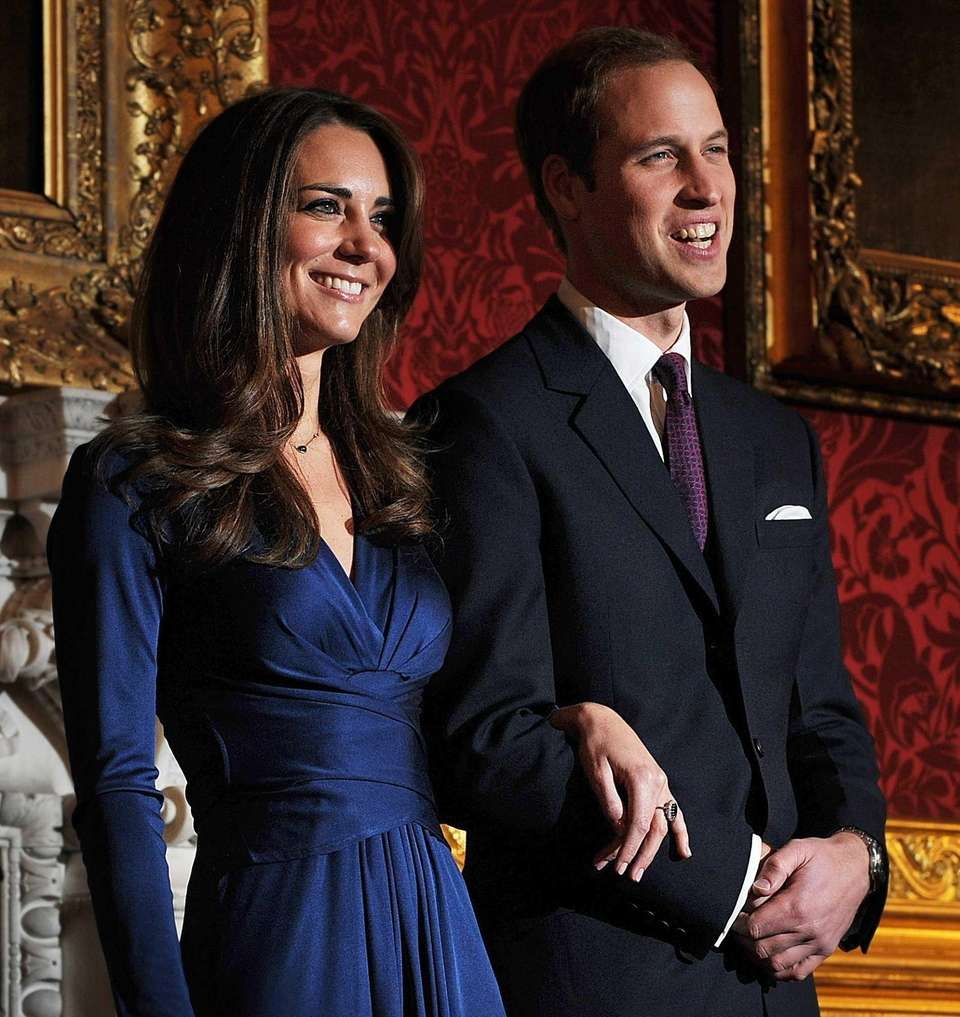 Britain's Prince William and his then-fiance Kate Middleton