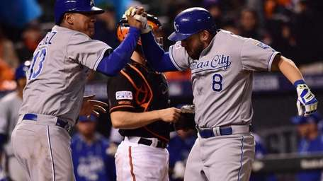 Mike Moustakas of the Kansas City Royals celebrates