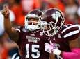 Dak Prescott of the Mississippi State Bulldogs reacts