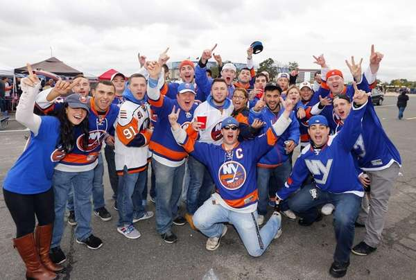 Fans tailgate before the Islanders' home opener against