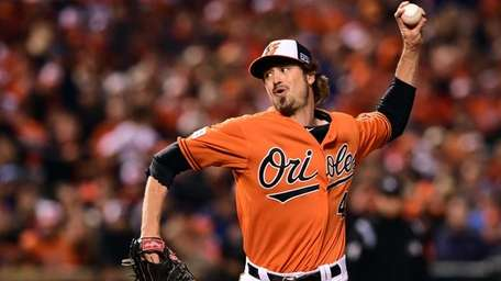 Andrew Miller of the Baltimore Orioles throws a