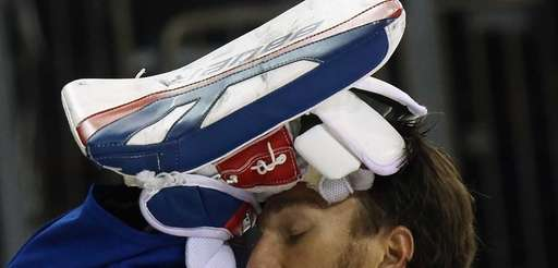 Rangers goalie Henrik Lundqvist prepares for his game