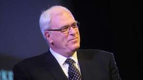 Knicks president Phil Jackson speaks on stage at