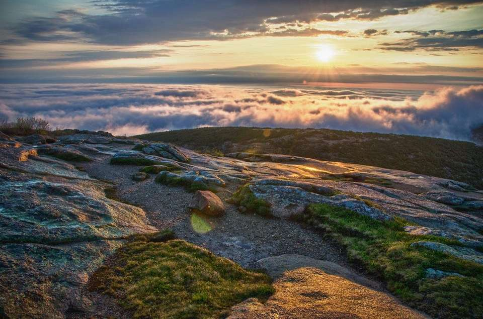 A sunrise from Cadillac Mountain in Acadia National