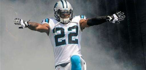 Carolina Panthers cornerback Josh Thomas (22) runs onto