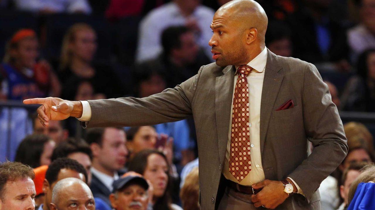 Knicks head coach Derek Fisher reacts during a