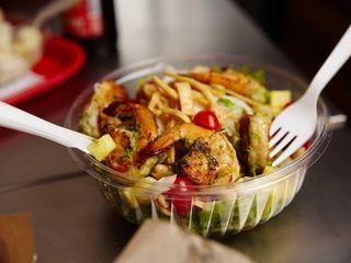 The Thai shrimp salad, with sizable shellfish and