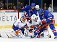 Jaroslav Halak and Nick Leddy of the Islanders