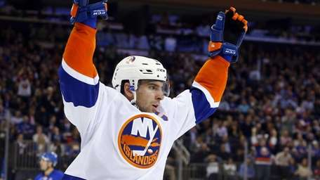 John Tavares of the Islanders celebrates his second-period