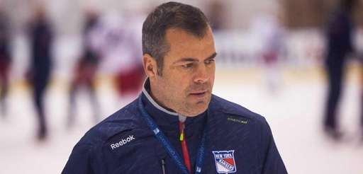 Rangers head coach Alain Vigneault looks on during