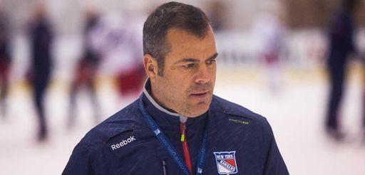 Rangers head coach Alain Vigneault looks on during