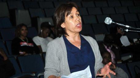 School board candidate Maribel Toure addresses the Hempstead